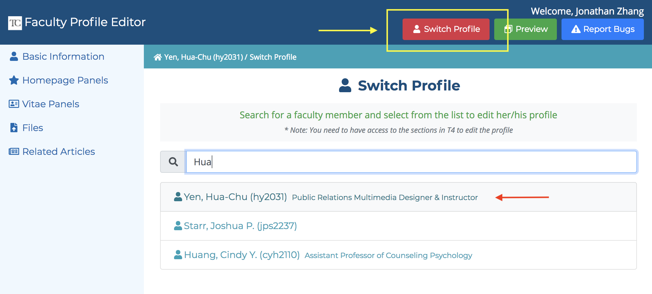 Screenshot of the Switch profile interface in the Faculty Profile Editor