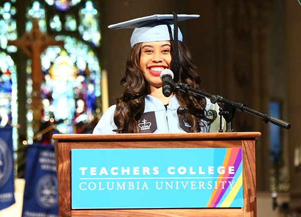 CHALLENGING THE SUPERWOMAN STEREOTYPE Student speaker Kenya Crawford said that TC taught her that that