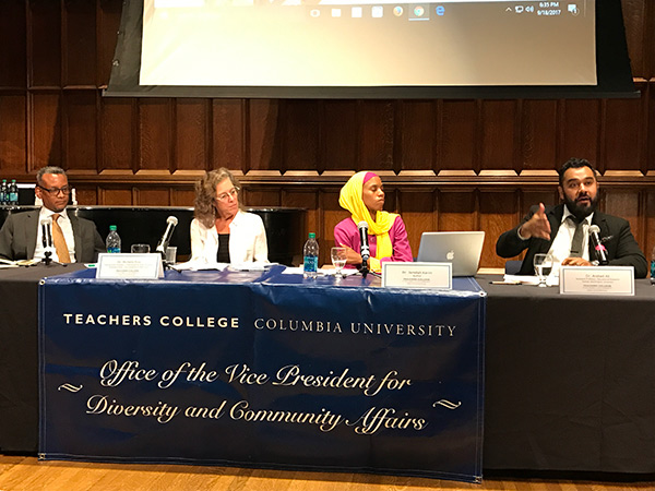 CONSTITUTIONALLY CONCERNED From left: Vincent Warren, Executive Director, Center for Constitutional Rights; Professor Michelle Fine, CUNY Graduate Center; author Jamillah Karim; Arshad Ali, Assistant Professor of Education Research, George Washington University
