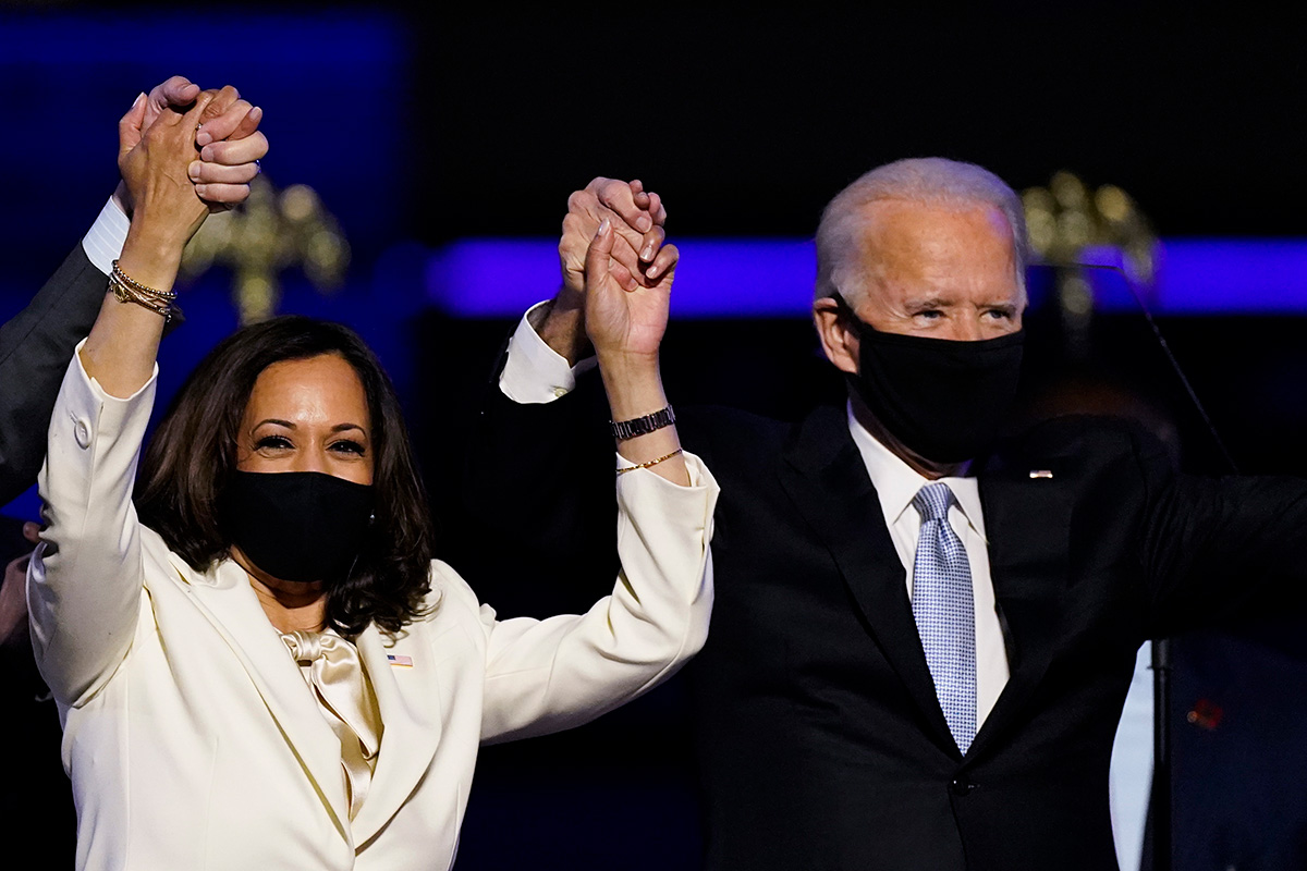 Biden and Harris speaking